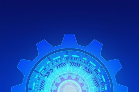 HUD. Abstract technology circles. Graphic design on blue background, 3d illustration