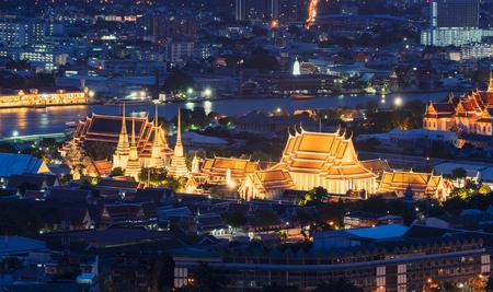 Wat Pho or Wat Phra Chetuphon Vimolmangklararm Rajwaramahaviharn at night in Bangkok City, Thailand. Buddhist temple. Editöryel