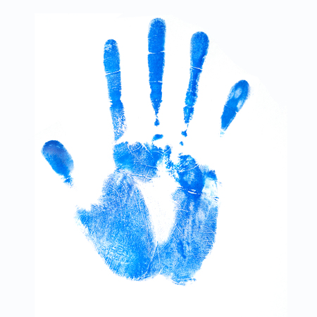 Ink blue human handprint. Palm on a white background in technology concept. No effects used.