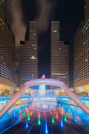 Singapore City - July 30, 2018 : Lights show at Fountain of Wealth in Suntec Tower in Singapore.  The most popular travel destination in Asia