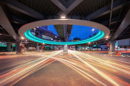Bangkok tunnel intersection with car lights at Siam in technology transportation concept, Bangkok City, Thailand 版權商用圖片