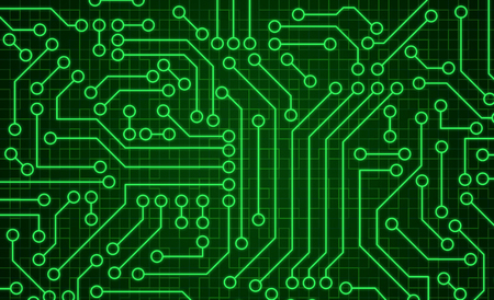 Green circuit board pattern texture. High-tech background in digital computer technology concept. Abstract illustration. Stock Photo