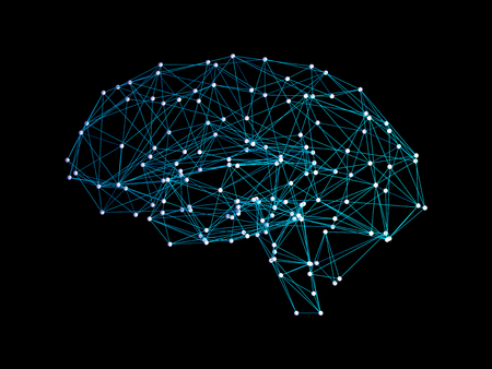 Digital data and network connection of human brain on black background in the form of artificial intelligence for technology concept, 3d abstract illustration