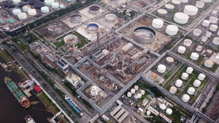 Aerial view of Petroleum's oil refinery in industrial engineering concept. Oil and gas tanks industry. Modern factory Stock fotó