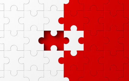 Missing jigsaw puzzle pieces in unfinished work, strategy and solution business concept. White and red pattern texture background. 3d abstract illustration Standard-Bild - 112442342