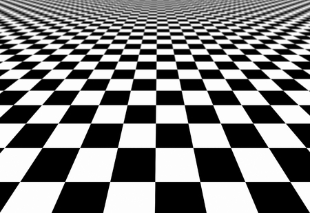 Checkered abstract wallpaper, black and white flooring illusion pattern texture background. 3d squares illustration