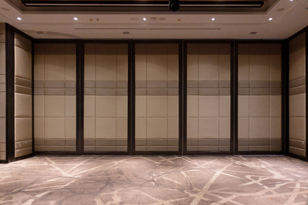Fabric panels door covered acoustic board pattern surface texture in hotel. Interior material for design decoration background