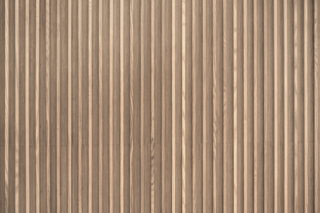 Wood slats, timber battens wall pattern surface texture. Close-up of interior material for design decoration background Stockfoto