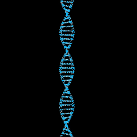 DNA, helix model medicine and network connection lines isolated on black background. Abstract futuristic technology structure in science, medical, and chemistry concept, 3d illustration. Stock Photo