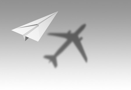 Paper airplane flying with shadow of a real airplane isolated on white background in education or travel concept. Mock up design. 3d abstract illustration Banco de Imagens
