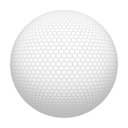Golf ball. White hexagon shape pattern. Simple mesh of sphere isolated on white background. Mock up design. 3d abstract illustration Stock Photo