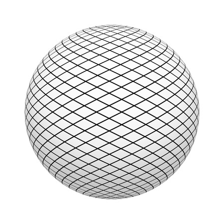 Net texture pattern with black squares on ball or sphere shape isolated on white background. Mock up design. 3d abstract illustration 版權商用圖片