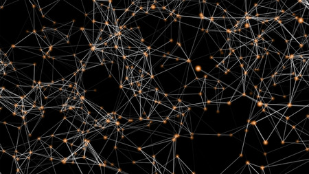 White and orange digital computer data and network connection triangle lines and spheres in futuristic technology concept on black background, 3d abstract illustration