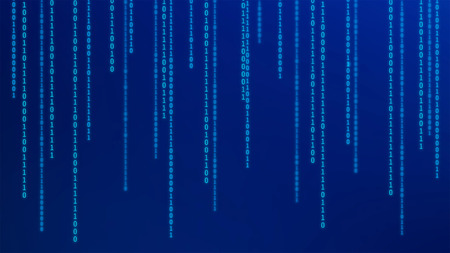 01 or binary numbers on the computer screen on monitor matrix background, Digital data code in hacker or safety security technology concept. Abstract illustration