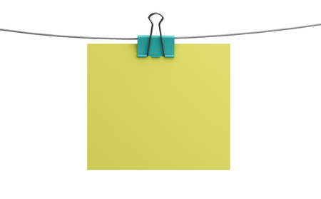 Blank empty sheet of paper attached with binder clip isolated on white background. 3d illustration Фото со стока
