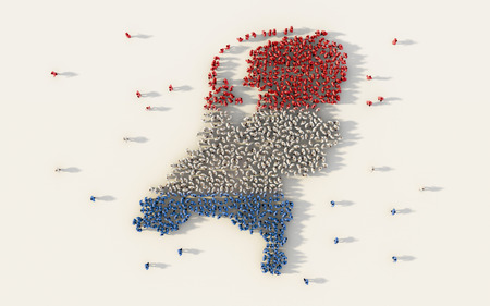 Large group of people forming Netherlands map and national flag in social media and communication concept on white background. 3d sign symbol of crowd illustration from above gathered together