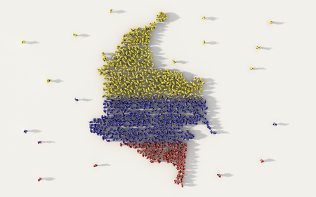 Large group of people forming Colombia map and national flag in social media and communication concept on white background. 3d sign symbol of crowd illustration from above gathered together