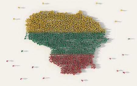 Large group of people forming Lithuania map and national flag in social media and community concept on white background. 3d sign symbol of crowd illustration from above gathered together