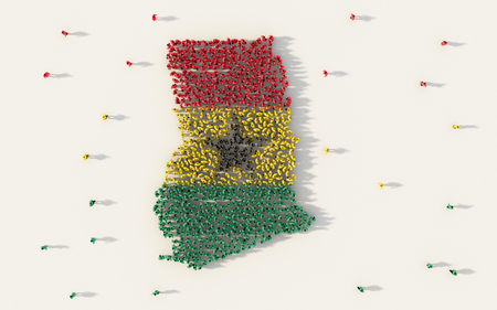 Large group of people forming Ghana map and national flag in social media and community concept on white background. 3d sign symbol of crowd illustration from above gathered together 版權商用圖片