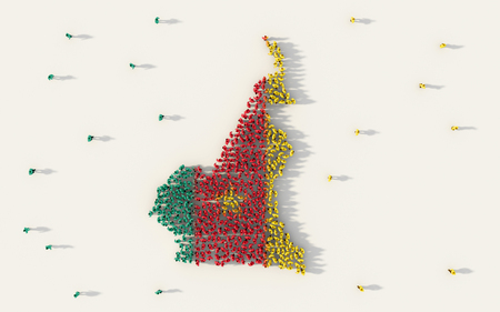 Large group of people forming Cameroon map and national flag in social media and community concept on white background. 3d sign symbol of crowd illustration from above gathered together