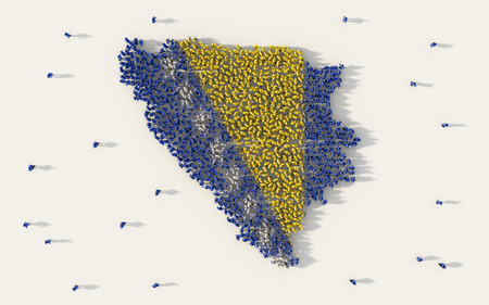 Large group of people forming Bosnia and Herzegovina map and national flag in social media and community concept on white background. 3d sign symbol of crowd illustration from above gathered together