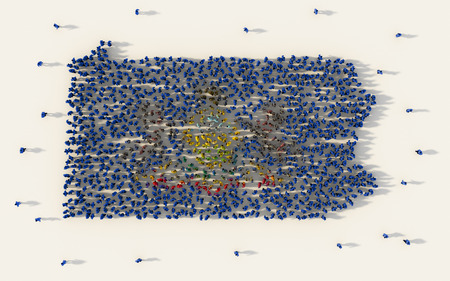 Large group of people forming Pennsylvania flag map in The United States of America in social media and community concept on white background. 3d sign symbol of crowd illustration from above 版權商用圖片