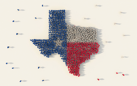 Large group of people forming Texas flag map in The United States of America in social media and community concept on white background. 3d sign symbol of crowd illustration from above Foto de archivo