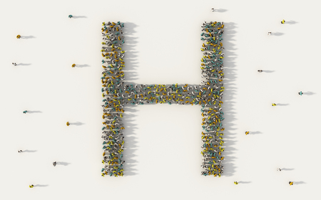 Large group of people forming letter H, capital English alphabet text character in social media and community concept on white background. 3d sign symbol of crowd illustration from above