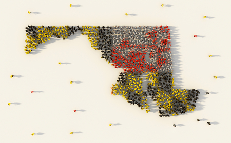 Large group of people forming Maryland flag map in The United States of America in social media and community concept on white background. 3d sign symbol of crowd illustration from above