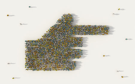 Large group of people forming human hand pointing with index finger icon in social media and community concept on white background. 3d sign of crowd illustration from above gathered together