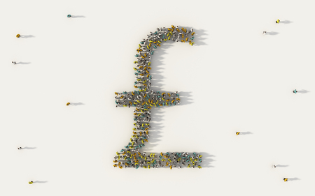 Large group of people forming GBP Pound sterling currency. Money symbol in business, social media and community concept on white background. 3d sign of crowd illustration from above gathered together 版權商用圖片