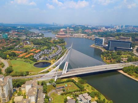 Seri Wawasan Bridge or Putra Bridge and Putrajaya Lake with blue sky. The most famous tourist attraction in Kuala Lumpur City, Malaysia Reklamní fotografie