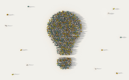 Large group of people forming a light bulb symbol in social media and community concept on white background. 3d sign of crowd illustration from above gathered together Zdjęcie Seryjne