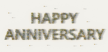 Large group of people forming Happy Anniversary lettering text in social media and community concept on white background. 3d sign of crowd illustration from above gathered together Banque d'images - 118491261