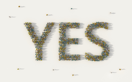Large group of people forming Yes lettering text in social media and community concept on white background. 3d sign of crowd illustration from above gathered together Stock Photo
