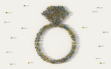 Large group of people forming a ring symbol in social media and community concept on white background. 3d sign of crowd illustration from above gathered together Banque d'images - 118491482