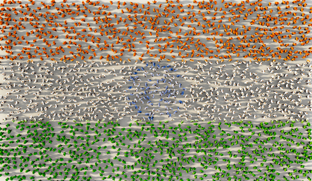Large group of people forming India flag in social media and community concept on white background. 3d sign of crowd illustration from above gathered together Imagens