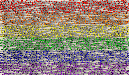 Large group of people forming sexuality pride flag in social media and community concept on white background. 3d sign of crowd illustration from above gathered together Banque d'images - 118543627