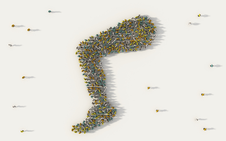 Large group of people forming a leg or foot symbol in social media and community concept on white background. 3d sign of crowd illustration from above gathered together Stock Photo