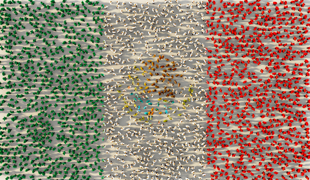 Large group of people forming Mexico national flag in social media and community concept on white background. 3d sign of crowd illustration from above gathered together