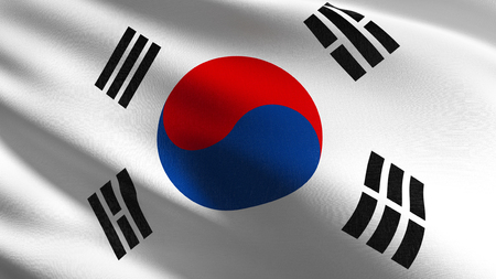 South Korea national flag blowing in the wind isolated. Official patriotic abstract design. 3D rendering illustration of waving sign symbol.
