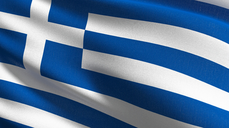 Greece national flag blowing in the wind isolated. Official patriotic abstract design. 3D rendering illustration of waving sign symbol. Stock Photo