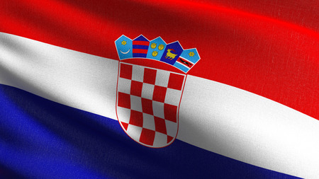 Croatia national flag blowing in the wind isolated. Official patriotic abstract design. 3D rendering illustration of waving sign symbol. Stock Illustration - 119961453