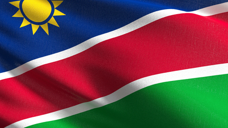Namibia national flag blowing in the wind isolated. Official patriotic abstract design. 3D rendering illustration of waving sign symbol. 版權商用圖片