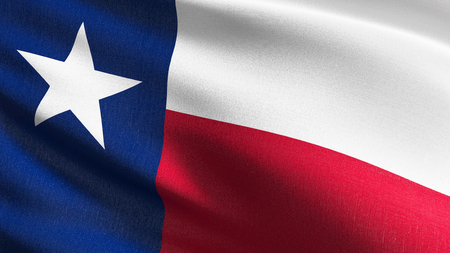 Texas state flag in The United States of America, USA, blowing in the wind isolated. Official patriotic abstract design. 3D rendering illustration of waving sign symbol.