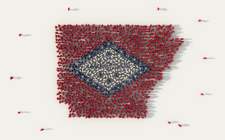 Large group of people forming Arkansas flag map in The United States of America, USA, in social media and community concept on white background. 3d sign symbol of crowd illustration from above