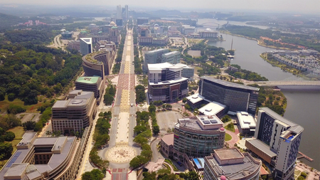 Aerial view of roads in Putrajaya City with garden landscape design. Federal territory of Malaysia in Kuala Lumpur City Reklamní fotografie