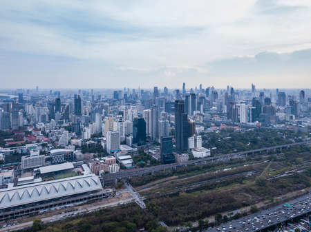 Aerial view of Rama 9 road, New CBD, Bangkok Downtown, Thailand. Financial district and business centers in smart urban city in Asia. Skyscraper and high-rise buildings. Reklamní fotografie