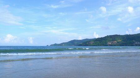 Wave at Phuket island beach , Andaman Sea at noon in Thailand. Nature sky background.
