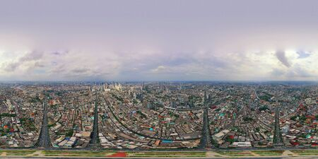 360 panorama by 180 degrees angle seamless panorama view of Wongwian Yai roundabout. Aerial view of highway junctions. Top view. Urban city, Bangkok, Thailand.